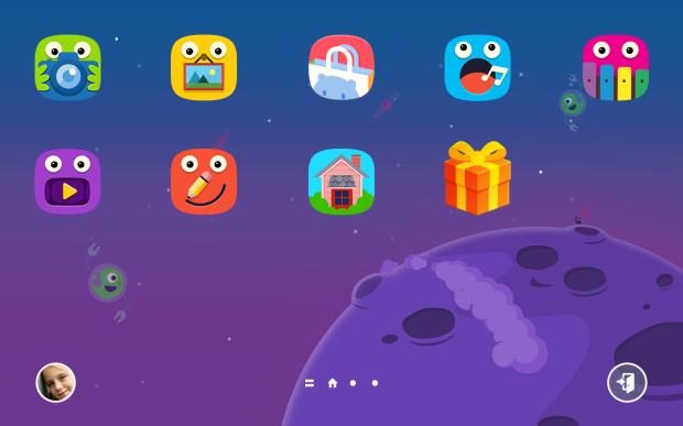 Tampilan Homescreen Kids Mode yang lucu dan mudah digunakan oleh anak.